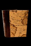 Book with map, isolated, black background. Book with old map, isolated on black background Stock Photos