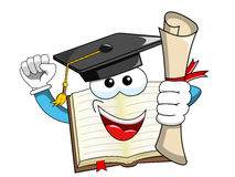 Book Mascot cartoon graduate holding certificate isolated. On white Royalty Free Stock Photos