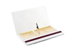 Book of matches. A book of matches, one is burnt out, isolated on white background Royalty Free Stock Photography
