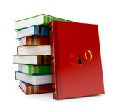 Book med tangent i lås på vit bakgrund stock illustrationer