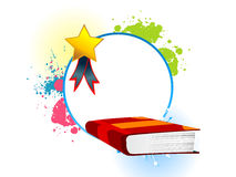Book with medal. On circular background vector illustration