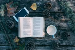 Book and mobile phone on a wooden table with coffee and pines ou Royalty Free Stock Image
