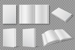 Book mockup. Blank white closed and open books. Textbooks and brochures isolated vector template