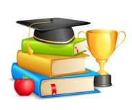 Book with Mortar Board and Trophy Stock Images
