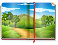 Book with mountain and forest scene Royalty Free Stock Images