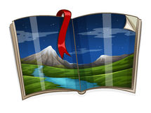 Book with mountain scene Royalty Free Stock Images