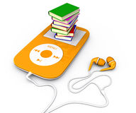 Book and mp3 player. Pile of books lying on mp3 player. 3d illustration: audiobook Stock Photo