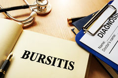 Book with name bursitis. Medical concept royalty free stock photography