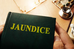 Book with name Jaundice. Royalty Free Stock Images