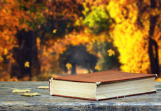 Book on natural background Stock Photo