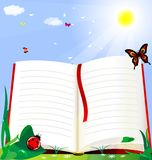 Book and nature. Against the background of the solar green grass is a large open book Stock Illustration