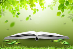 Book of nature. Open book with green nature, concept Vector Illustration