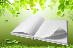 Book of nature. Open book with green nature, concept Stock Illustration