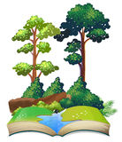 Book of nature with trees and river Stock Photo