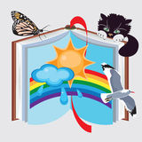 Book of nature, vector illustration. Open book with the picture of nature, animated nature, inanimated nature, sun, cloud, rain, rainbow, cat, gull, butterfly stock illustration