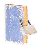 Book with a new metal lock inserted through the pa Royalty Free Stock Images