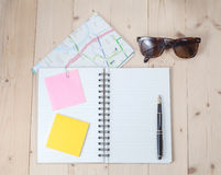 Book note with post it on wood Royalty Free Stock Photography