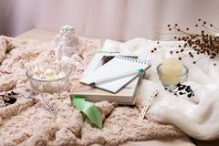 A book, a notebook, a candle in a glass candlestick, parvarda, peanuts in sugar, a statuette of an angel made of white plaster. A wristwatch on a soft, beige royalty free stock photos