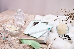 A book, a notebook, a candle in a glass candlestick, parvarda, peanuts in sugar, a statuette of an angel made of white plaster. A wristwatch on a soft, beige royalty free stock photography
