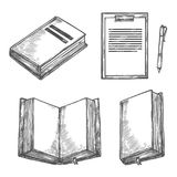 Book, notebook, pen and clipboard sketch design royalty free illustration