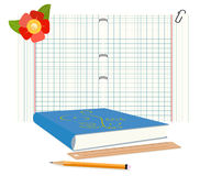 Book, notebook and pencil Stock Image
