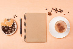 Book for notes and cappucino Royalty Free Stock Photos