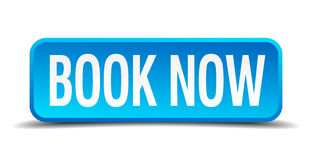 Book now blue 3d realistic square button. Book now blue 3d realistic square  button Stock Images