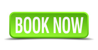 Book now green 3d realistic square button Royalty Free Stock Photography