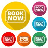 Book Now icon, Book Now sign, color icon with long shadow. Simple vector icons set Stock Photography