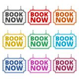 Book Now icon, Book Now sign, color icons set. Simple vector icon Royalty Free Stock Images