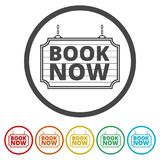 Book Now icon, Book Now sign, 6 Colors Included. Simple vector icons set Stock Images