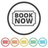 Book Now icon, Book Now sign, 6 Colors Included. Simple vector icons set Stock Image
