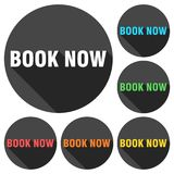 Book Now icons set with long shadow. Vector icon Royalty Free Stock Photos