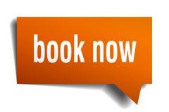 Book now orange 3d speech bubble. Book now orange 3d square isolated speech bubble Stock Photos