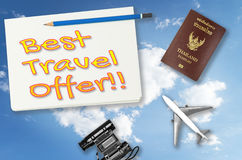Book now poster for travel agency vacation. Royalty Free Stock Photos