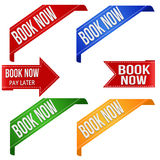 Book now promo ribbons Stock Photography