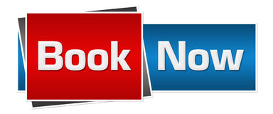 Book Now Red Blue Horizontal Stock Images
