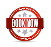 Book now red seal illustration design Royalty Free Stock Images