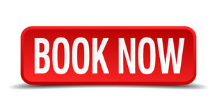 Book now red three-dimensional square button Royalty Free Stock Photography