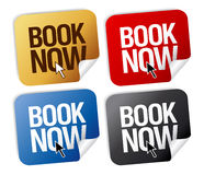 Book now stickers. Stock Photography