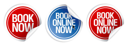 Book now stickers. Book online now stickers set Royalty Free Stock Photos