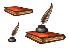 Book with old feather pen and inkwell sketch Royalty Free Stock Photo