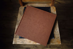 The book is an old leather cover royalty free stock image