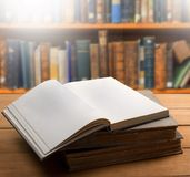 Book. Old open shelf reference rustic studying Royalty Free Stock Photos