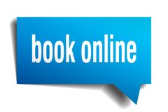 Book online blue 3d speech bubble. Book online blue 3d square isolated speech bubble Royalty Free Stock Images