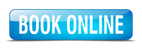 Book online blue square isolated web button. Book online blue square 3d realistic isolated web button Royalty Free Stock Photography
