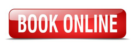 Book online button. Book online square 3d realistic isolated glass web button. book online Royalty Free Stock Image