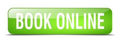 Book online button. Book online square 3d realistic isolated glass web button. book online Royalty Free Stock Images
