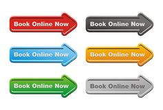 Book online now - arrow buttons Stock Image