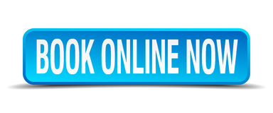 book online now blue square button Stock Image